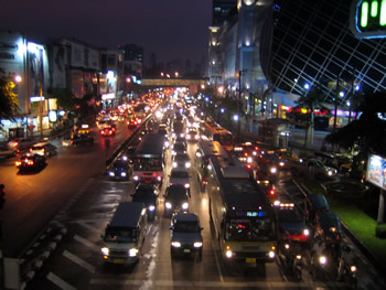 Bangkok traffic outside the MBK Center